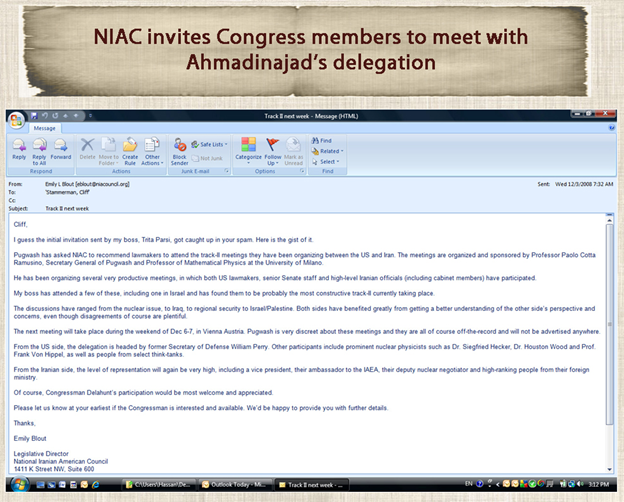 29) December 3, 2008—Follow up email from NIAC inviting Members of Congress to meet with Ahmadinejad's delegation.