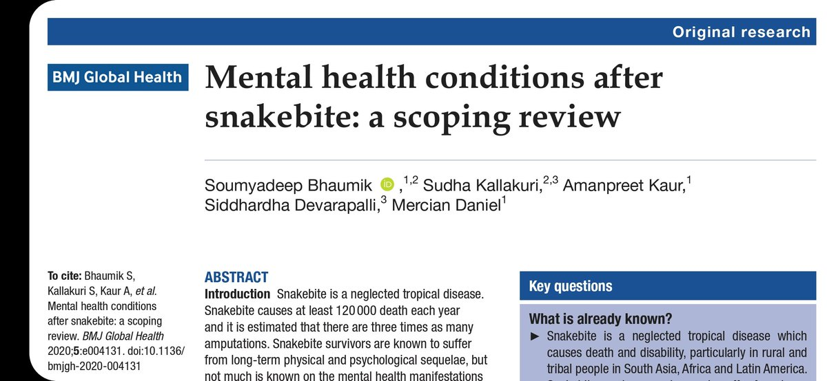 Snakebite is not just an acute medical emergency.  In our new paper out now in @GlobalHealthBMJ we found that  ▪︎8%-43% of snakebite survivors have PTSD  ▪︎25%-54% of snakebite survivors have depression  ▪︎Only one RCT which had negative result  🔗https://t.co/fjPg7VuFKJ https://t.co/yE9efCsO3p