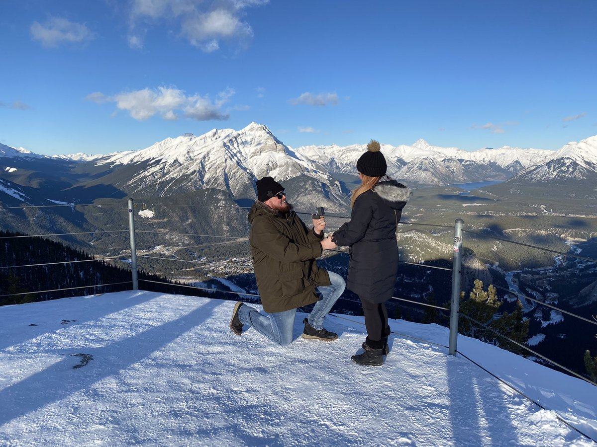So I Flew my girlfriend of almost 5 years across the country to Banff this past weekend to ask her to marry me!  She Said YES!! https://t.co/RWNHnwmlkV