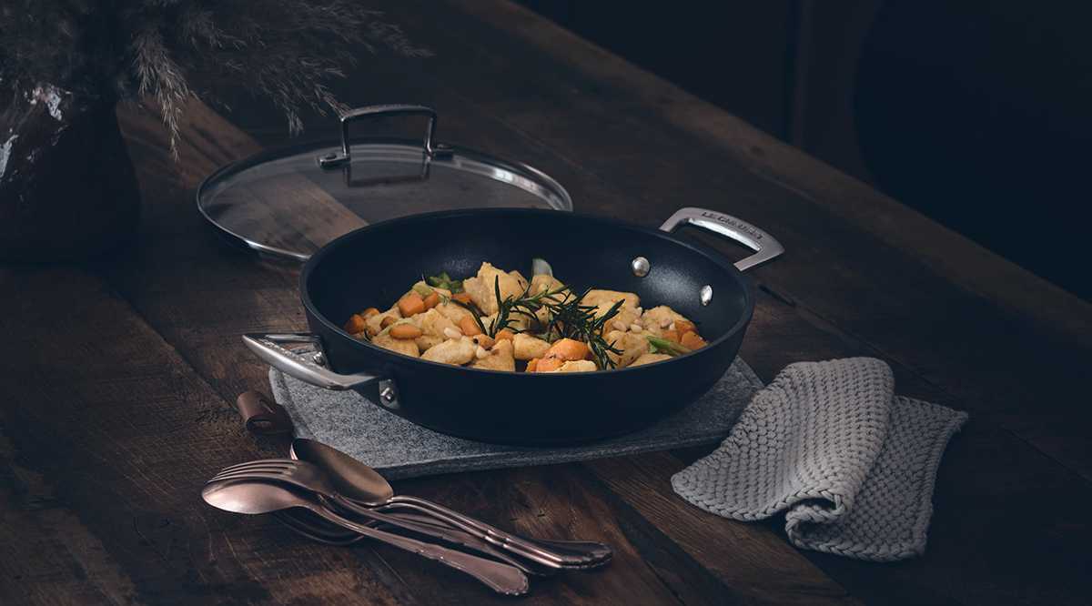 Find some #Mondaymotivation and make this gorgeous recipe for gnocchi with sage butter and baked butternut squash. It's perfect or cooking and serving in our Toughened Non-Stick Shallow Casserole:    #LeCreuset #LeCreusetUK #MyLeCreuset #cookware #recipes