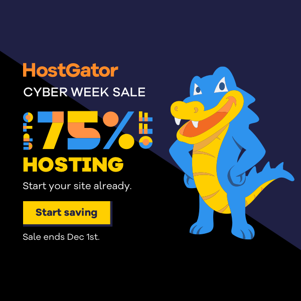 Score up to 75% OFF Shared Web Hosting!    #Hostgator #CyberMonday #Hosting