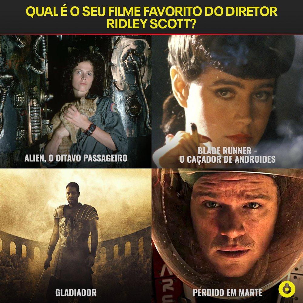Hoje é aniversário do diretor Ridley Scott, famoso por dirigir grandes clássicos do cinema, como Gladiador, Alien - O Oitavo Passageiro, Blade Runner e Perdido em Marte! Qual desses quatro é o seu favorito? https://t.co/NdhZUPsuAc