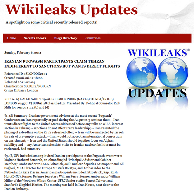 33) February 6, 2011: Published by WikiLeaks on the Pugwash meetings