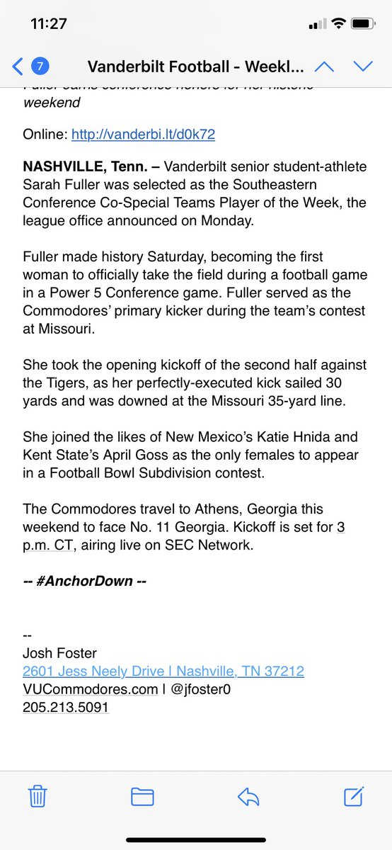 "The SEC named Vandy's Sarah Fuller co-special teams player of the week for her one 30 yard kickoff. Good lord. This is all such a sham. According to Vandy her ""perfectly executed kick sailed 30 yards."" https://t.co/zFp03x7DRL"