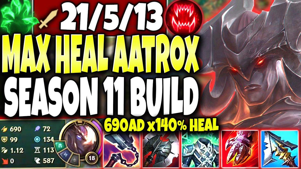BaLoRi - **690AD & x140% HEAL** Aatrox Season 11 MAX HEAL Build Guide 🔥