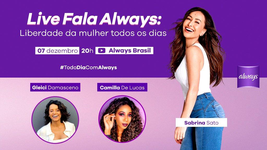 Quer saber o que as maravilhosas @camilladelucas e @gleicidamasceno fazem para sentirem-se à vontade todos os dias? Assista o bate-papo delas com a @SabrinaSato na live que é dia 07/12, às 20h, no canal de Always Brasil no YouTube.   #TodoDiaComAlways