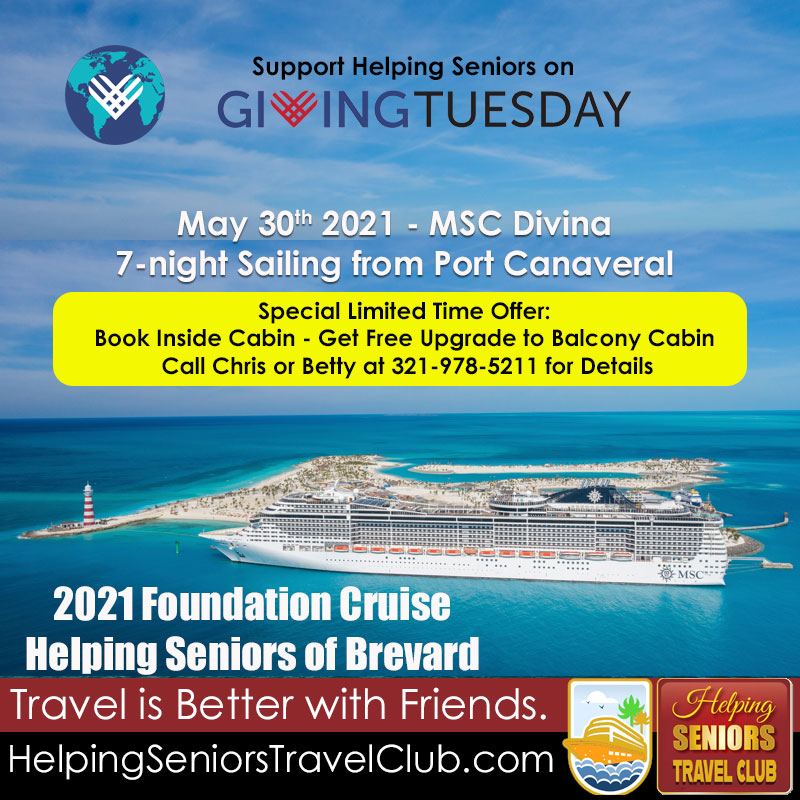 Tomorrow, December 1st, is #GivingTuesday.  Help the work of Helping Seniors - you can donate safely and securely online:   Want to give AND get?  Go sailing with us May 30 2021 on the Helping Seniors Foundation Cruise!