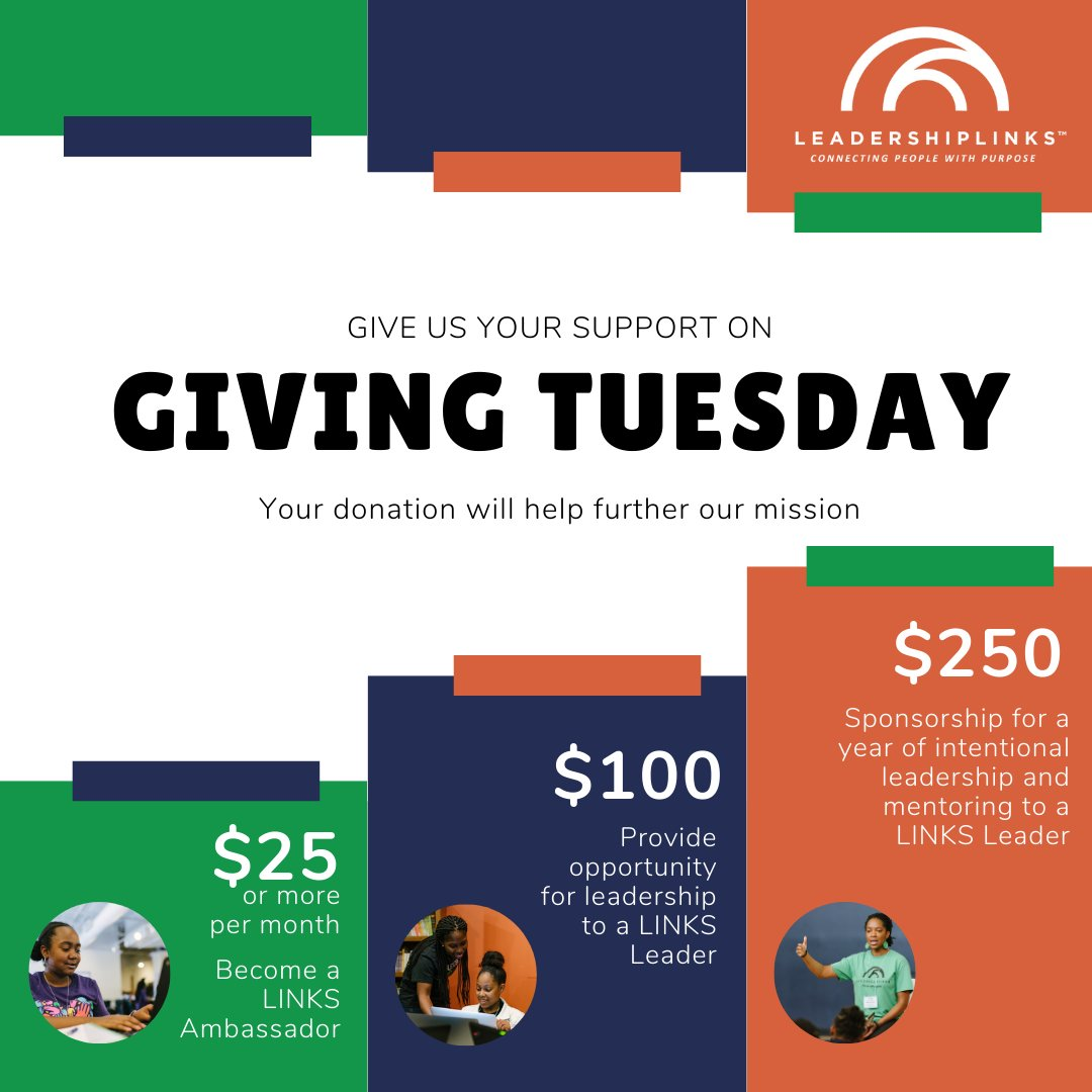 """Will you be participating in #GivingTuesday? Our LINKS Network has goals & dreams. YOU can help us achieve them and sustain them! Donate with the Givelify app or through the """"Give Now"""" button on our website: . Give today! Text LINKSLEADERS to #44321"""
