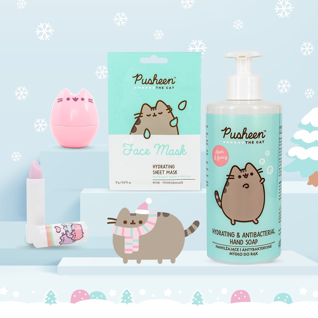POLISH PUSHEEN FANS!💕 #StNicholasDay is coming! Shop nourishing lip balms, hydrating face mask & antibacterial hand soap all featuring #Pusheen 😻 Now available at Rossmann Polska! bit.ly/3llflsv