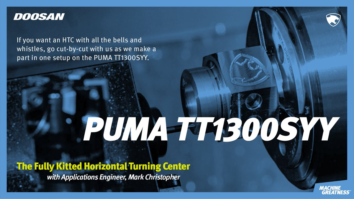 Need a horizontal turning solution that can achieve done-in-one #machining with optimal productivity? Check out @doosanmta's #IMTSSpark session, 12/1 @ 11 AM CST to see what a fully equipped #PUMATT1300SYY can do. Link to Register: https://t.co/MSNdRE3CN4 #cnc #mfg #machineshop https://t.co/Nlc5ENv6zF