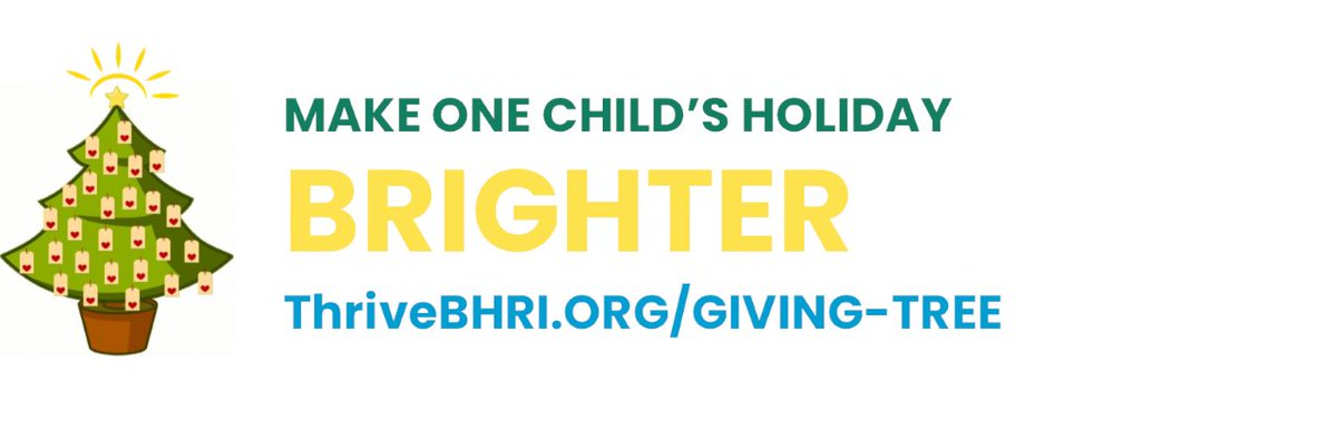 For #GivingTuesday, help make a child's day brighter by donating through Thrive's Virtual Giving Tree!  Pledge your support online or shop for a gift to drop off at our Warwick location.  To donate visit