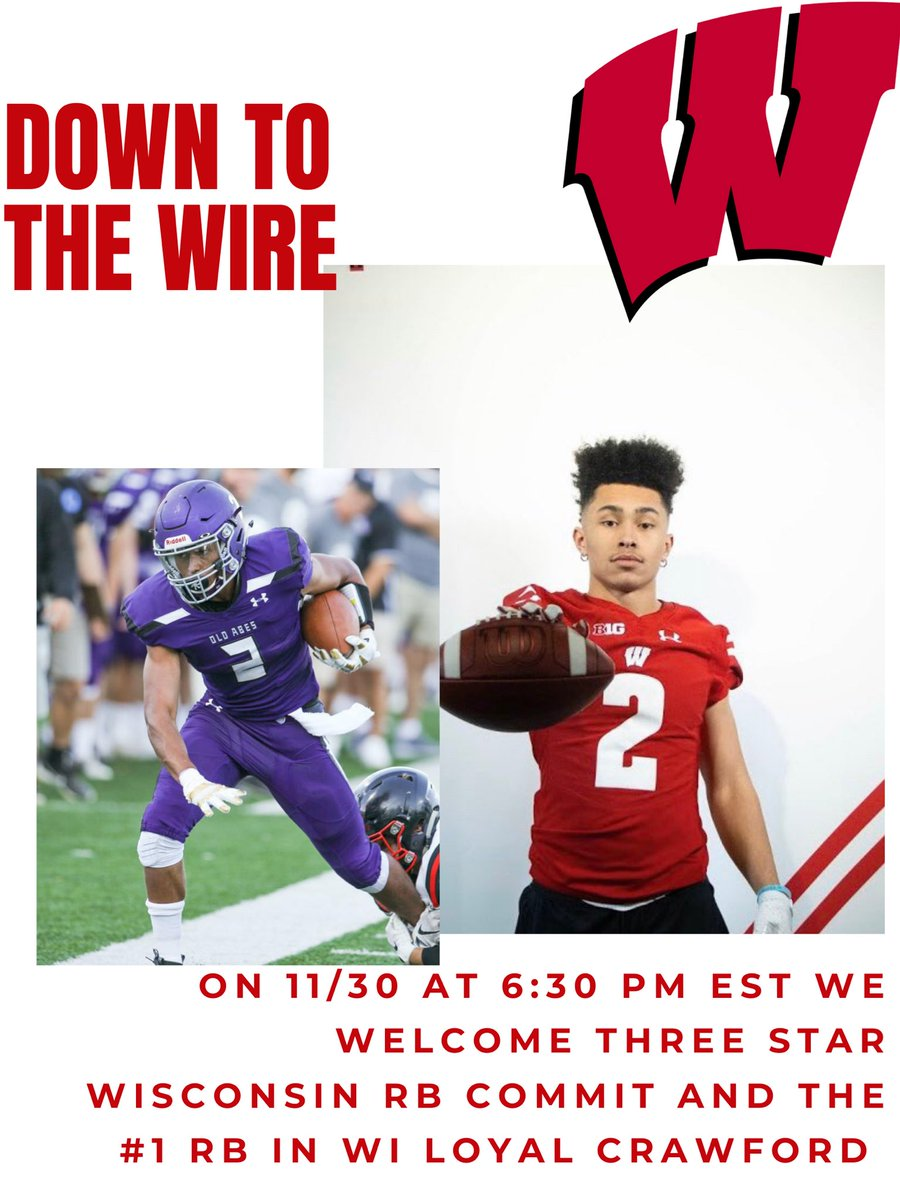 Tonight on Down to the Wire we have a great show for you all. At 6:30 PM EST we welcome the #1 RB in WI @badgerfootball commit @loyal_crawford   #college #collegefootball #winsconsin  #badgers #badgersfootball #onwisconsin #bigtenfootball