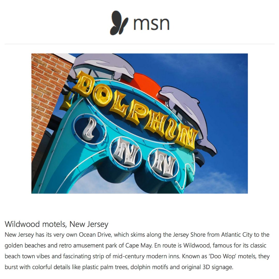 Check out @MSN's photo gallery with a shout out to the #WildwoodsNJ's Doo Wop motels in its Fabulous Roadside Attractions feature: https://t.co/JQgFBO5TmC. #Travel #Tourism #Motels #Doowop #NJAttractions #NJBeaches #JerseyShore https://t.co/sWARyxP0di