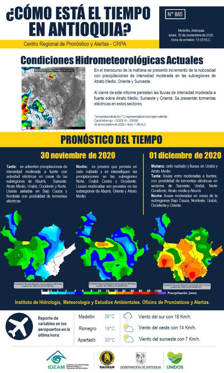 En esta segunda temporada de lluvias 2020 ten en cuenta los pronósticos del tiempo y alertas para hoy 30 de noviembre. Este es el boletín del CRPA🌧  @GobAntioquia @anibalgaviria @IDEAMColombia @cornare @CORPOURABA @Corantioquia @Areametropol @KIKE1978 https://t.co/TJUIIfVpca
