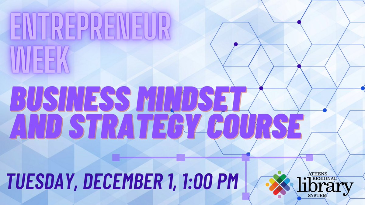 Tomorrow (Dec. 1) at 1 p.m.! Register for our free webinar to learn about the self-paced Business & Mindset Strategy course you can take through the library and @georgialibs  #EngagingCommunities #Entrepreneur #GrowWithGoogle