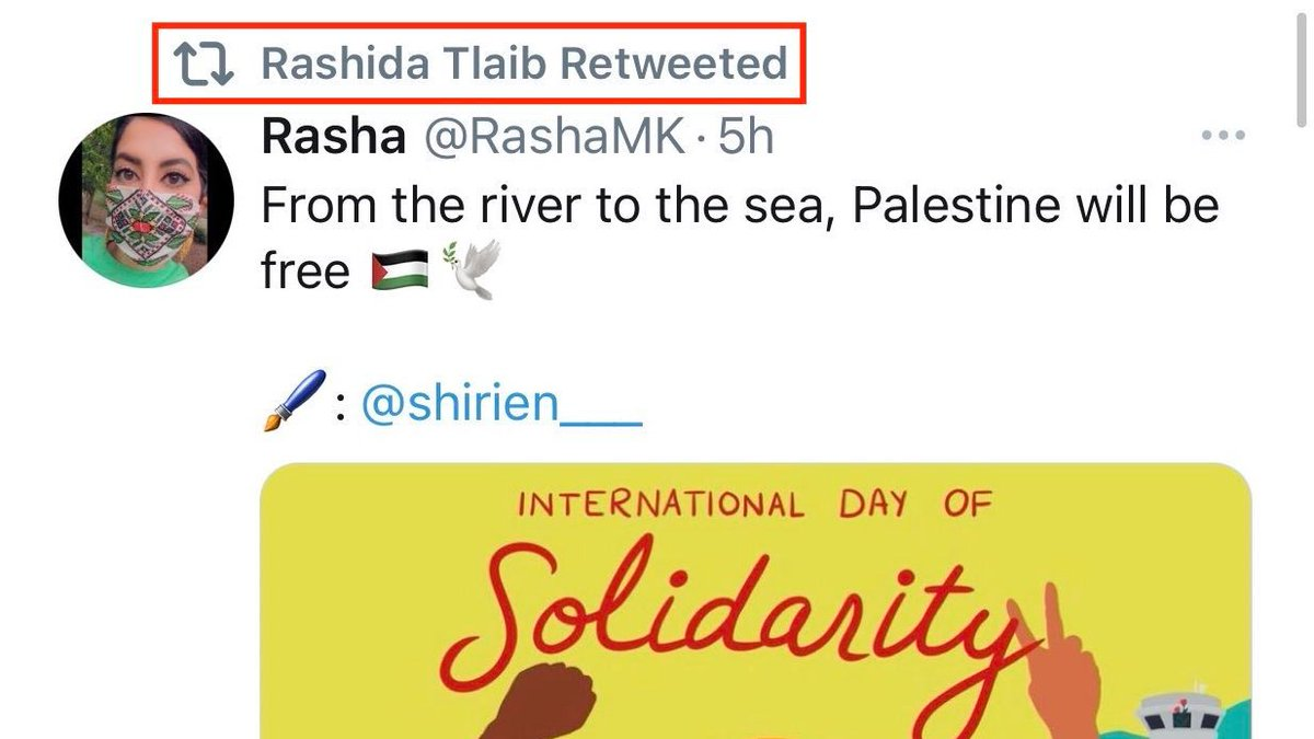 .@RashidaTlaib supports 1 state where Jews + Palestinians live equally, under the same law. Why is that less moral that the current 1 state: Where millions of Palestinians lack citizenship, due process, free movement + the right to vote for the govt that controls their lives? https://t.co/2HUNJaxYPa