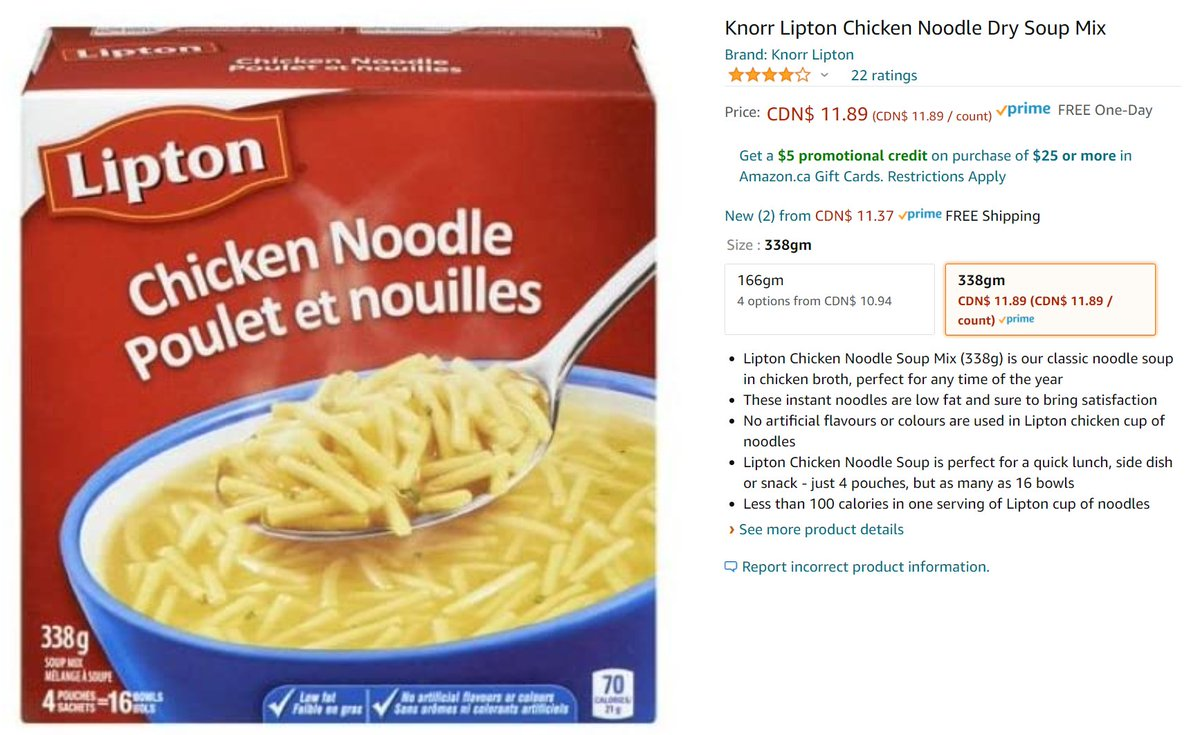 @amazon is still 100% useless for grocery options in #Canada 🇨🇦. Here's a $3 item listed for $12.  We would love to shop Amazon for dried goods in #Canada 🇨🇦 to help reduce #Covid19 but we are definitely are not willing to do so at x3 ~ x5 the price of walking down the street. https://t.co/uYAawVCh3s