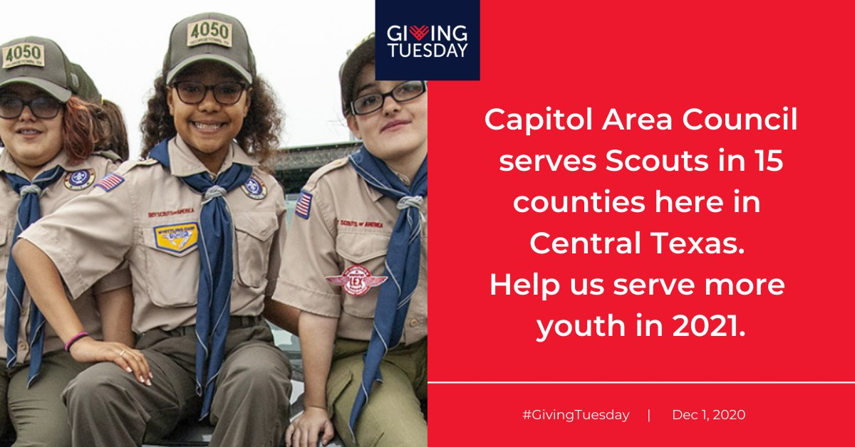 Help us help more Scouts tomorrow, on #GivingTuesday, by making a donation to Capitol Area Council. Your funds will not only help youth in Central Texas but the whole community through volunteer activities.