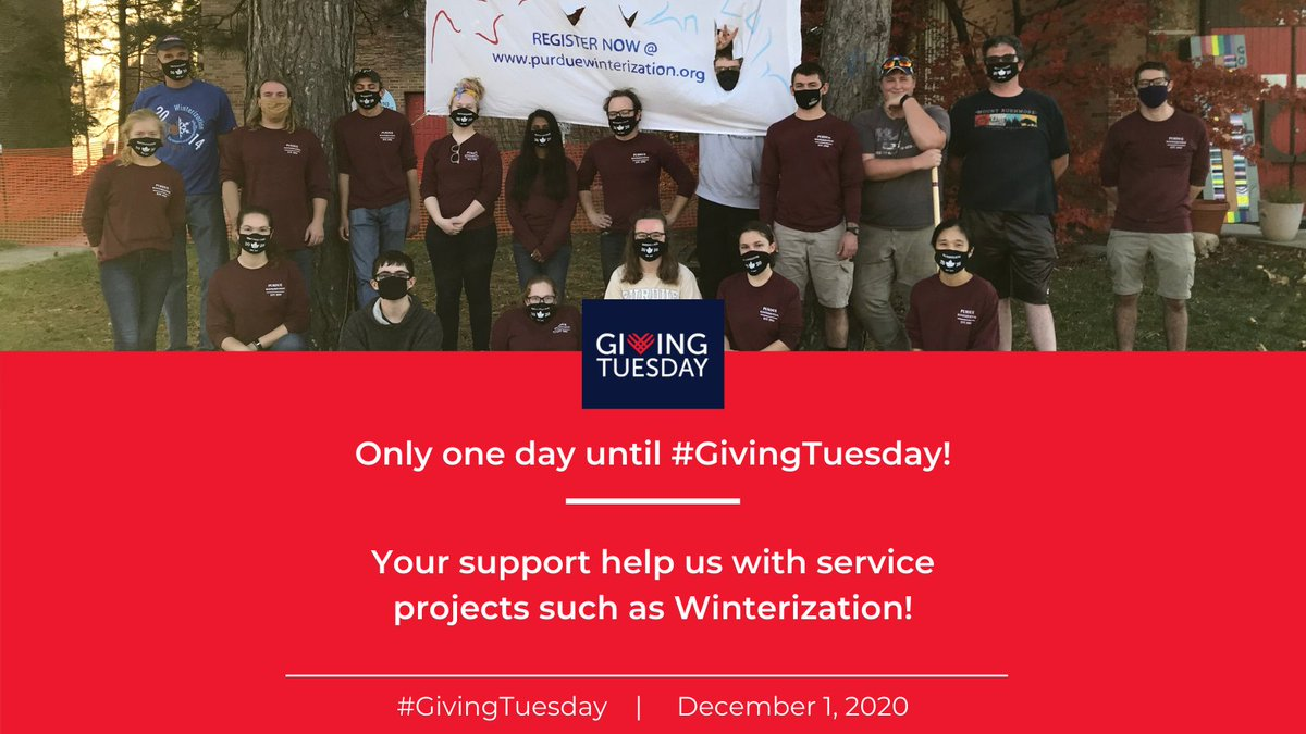 Only one day until #GivingTuesday! Your support helps us with service projects like Winterization. Despite the pandemic, Winterization had over 1000+ volunteers! To learn more about Winterization, visit