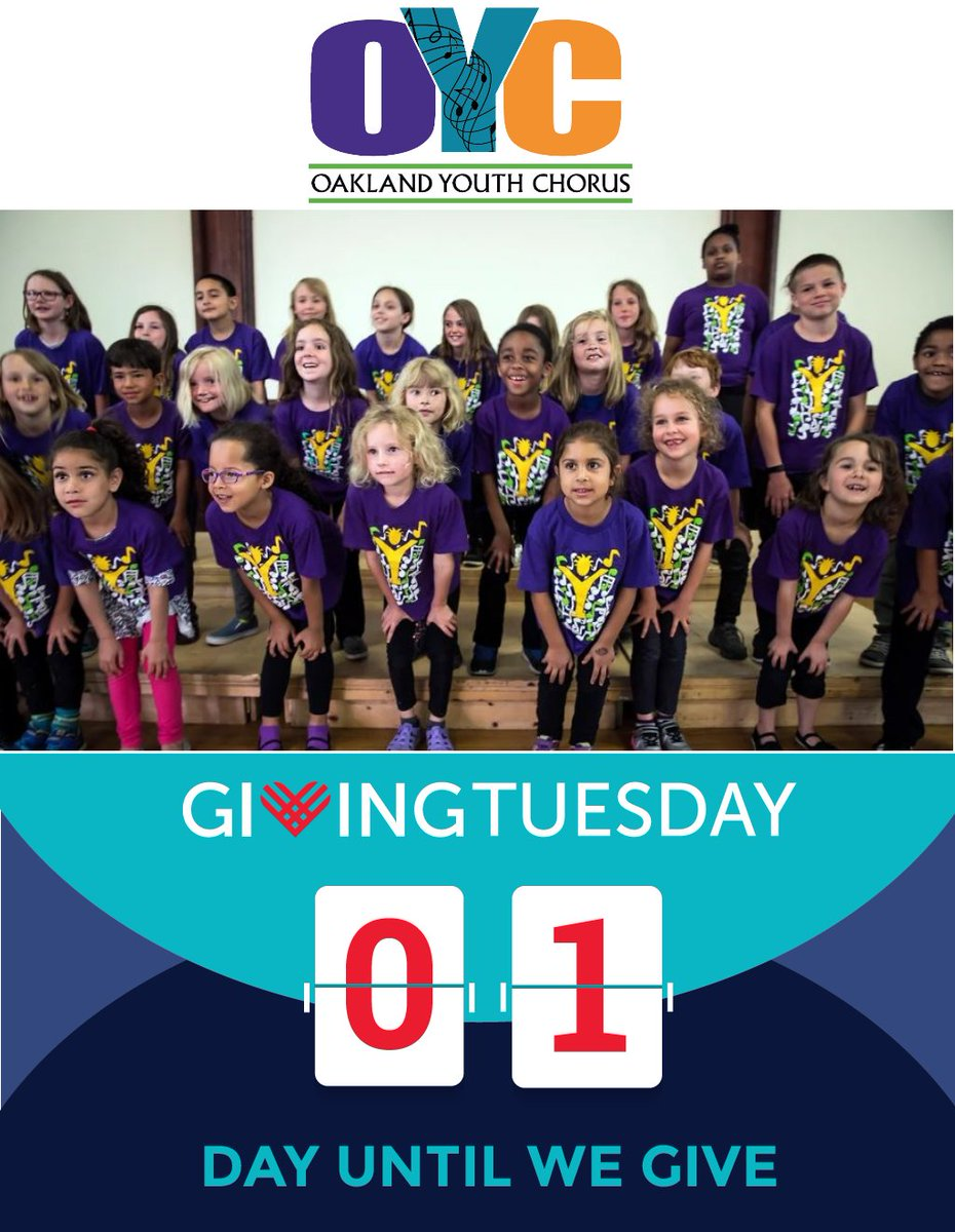 Giving Tuesday is tomorrow but you can give today! Shop Cyber Monday on  - all the same products and prices, and a percentage of your purchase supports OYC! Select OAKLAND YOUTH CHORUS to help our youth continue to sing strong!  #GivingTuesday #GrowingUpOYC