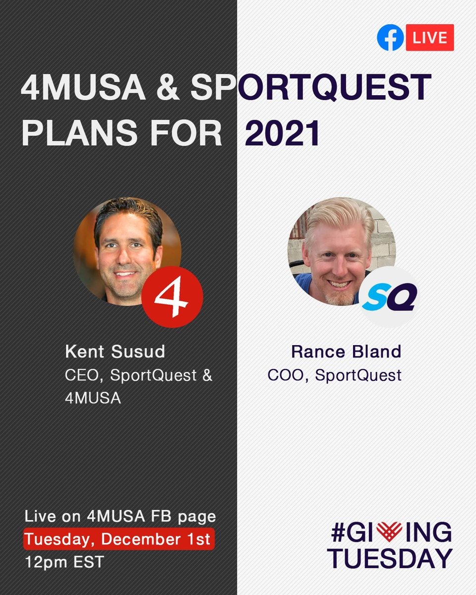 This #GivingTuesday, December 1st, at 12pm EST, we are going live.  Kent Susud and Rance Bland will reflect on ministry outcomes from 2020, how the ministry adapted to the challenges, and share stories of transformation.   See you on the 4MUSA FB page!