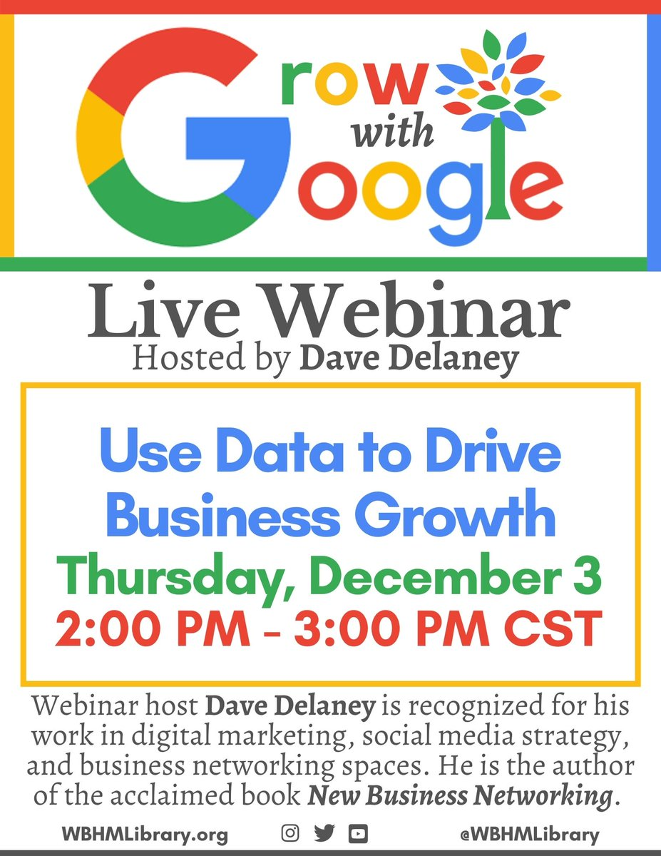 Coming up Thursday, December 3 at 2:00pm: Learn how to Use Data to Drive Your Business Growth with Dave Delaney. Go to  to register for this FREE, live Google webinar! #growwithgoogle