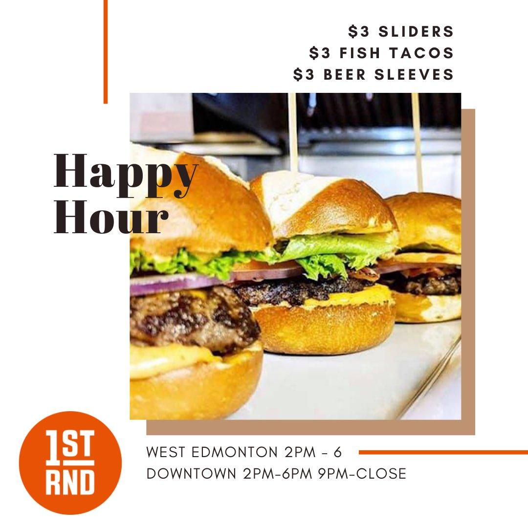 Happy hour is almost here. Come down to 1st RND and enjoy Edmonton's best Happy Hour deal. #happyhour #yeghappyhour #burgers #yegburgers #tacos #yegtacos #beer #yegbeer #yegfood #yegfoodie #craftbeer #1strnd https://t.co/dI9ssEFc5B