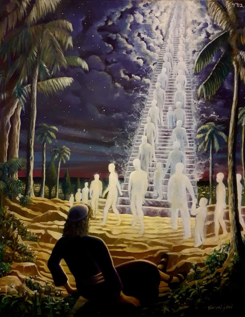 I asked listeners the the @YishaiFleisher Show #ISRAELPODCAST to send me pictures of the vision of #JacobsLadder - with angels ascending and descending from Heaven.   So my friend Jonny sent me this beauty by Manchester artist Jeff Levy - enjoy!! https://t.co/PhWJPCvr7N