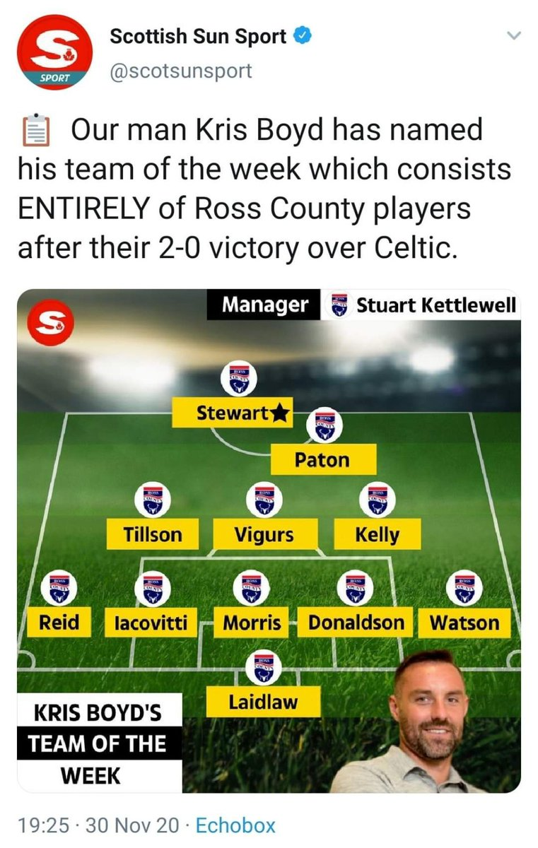 Kris Boyd has named his Team of the Week... and litteraly put in every single Ross County player  Magic! 🤣🤣  #top #champions #rangersfc #rangersfamily #rangers_family #rfc #heritage #passion #goingfor55  #wearethepeople #followfollow #football #picoftheday  #HRSC #WATP #NS https://t.co/hpsEYEggE6