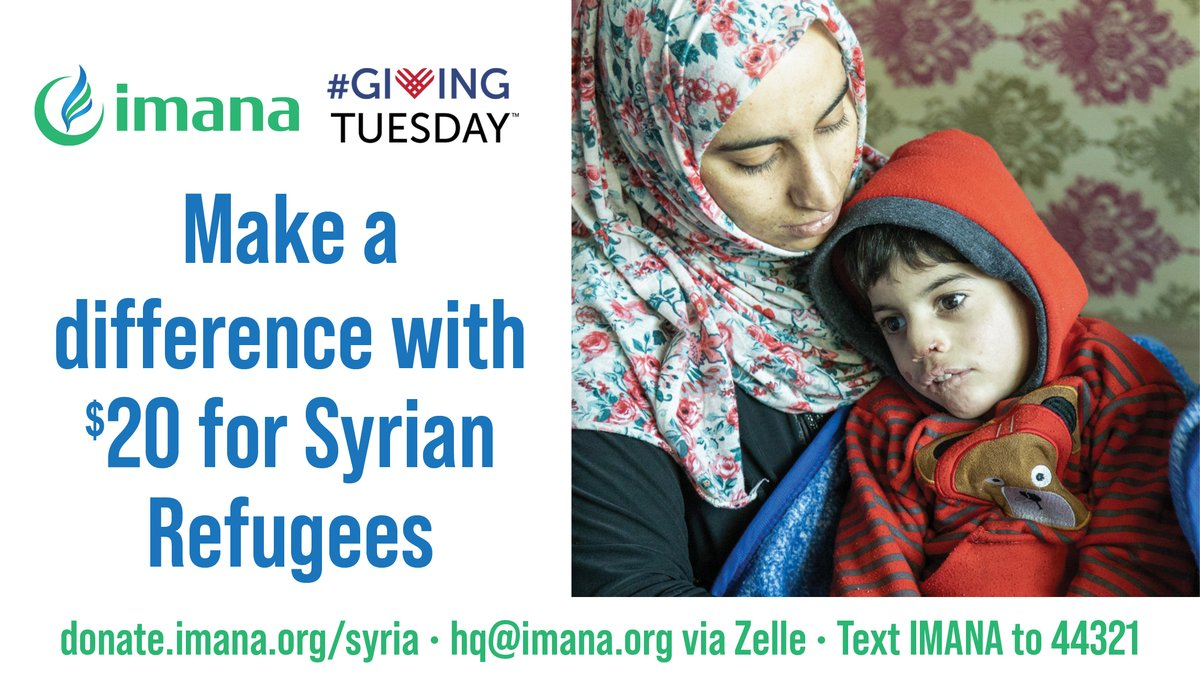 -  -  Since 2016, IMANA is uniquely positioned to reach out to Syrian refugees in need and provided free healthcare services to over 28,000 patients. This #GivingTuesday join us in delivering aid and medicines to the urban Syrian refugees living in Jordan.