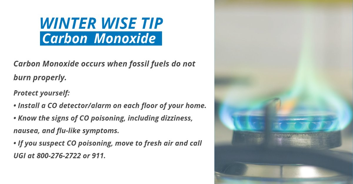 test Twitter Media - The incomplete combustion of any fossil fuel can produce carbon monoxide, an odorless, tasteless, colorless gas. CO can occur with a malfunctioning appliance or blocked chimney. If you suspect a CO leak, move to fresh air & call UGI at 800-276-2722 or 911. https://t.co/JPXwAj3R4t https://t.co/duFnsI3ReC