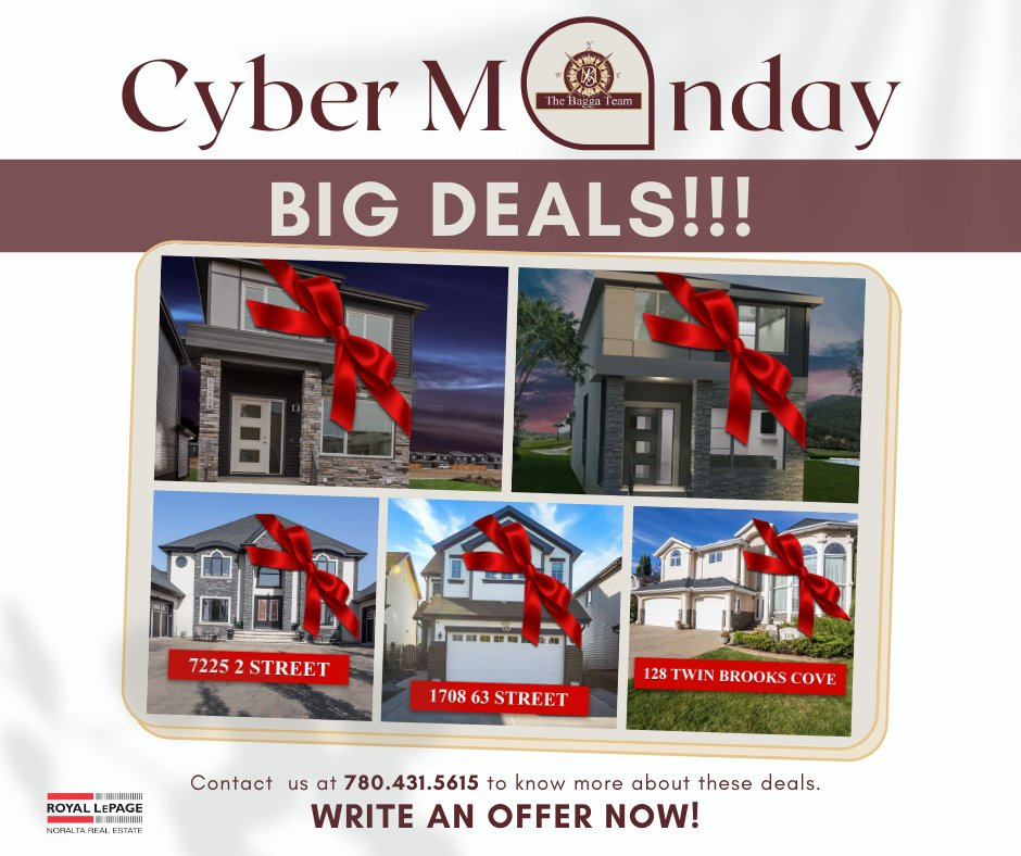 Did you miss our BIG Black Friday DEALS last week? We're bringing them back to you for Cyber-Monday!  **Promotion valid for all accepted offers prior to December 25.  Visit  or call us at 780-431-5615 and WRITE AN OFFER NOW!  #CyberMonday