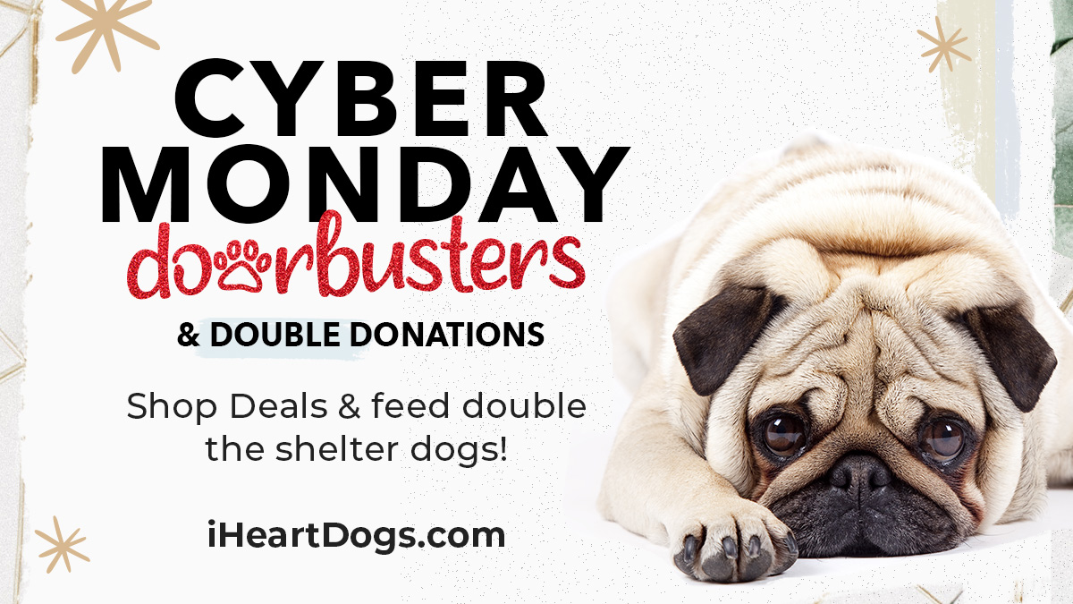 Feed double the dogs this #CyberMonday when you shop #iHeartDogs Deals and Doorbusters, some over 80% off! Your purchases help us get closer to our goal of 500,000 meals donated by tomorrow.  #deals #giveback #shelterdogs