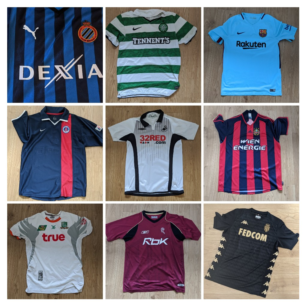 @shirt_x All include UK postage (extra for outside UK)  Brugge L £30 Celtic M £20 Barca M £25 PSG S £25 Swans M £30 Rapid XL £20 Bangkok M £25 Bolton £25 Monaco XL £30 https://t.co/xXbScnBmWc