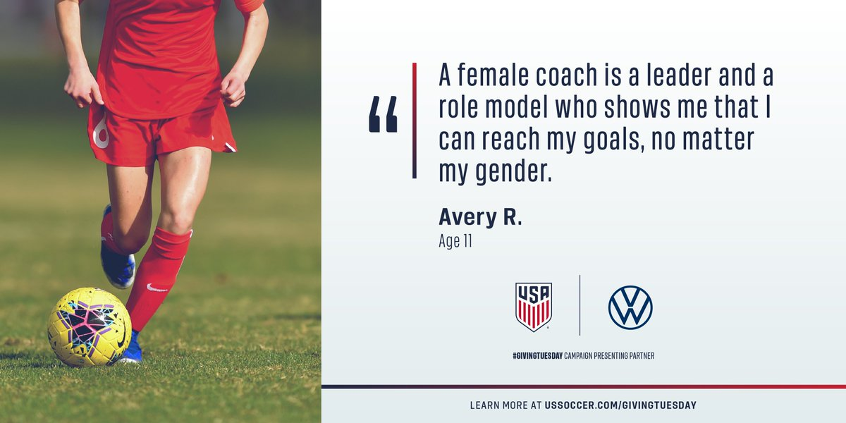 Were inspiring the next generation of great female coaches and players. Join us tomorrow for U.S. Soccers #GivingTuesday campaign, Presented by @VW. In a year unlike any other, we can do more together. More on the Jill Ellis Scholarship Fund: ussoc.cr/JESF
