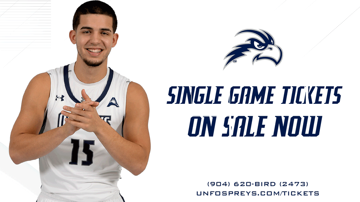 Single game tickets are now available! 🎟 bit.ly/unfmbbtix First up @ UNF Arena: Dec. 7 vs FAU | 7 p.m. #BirdsofTrey