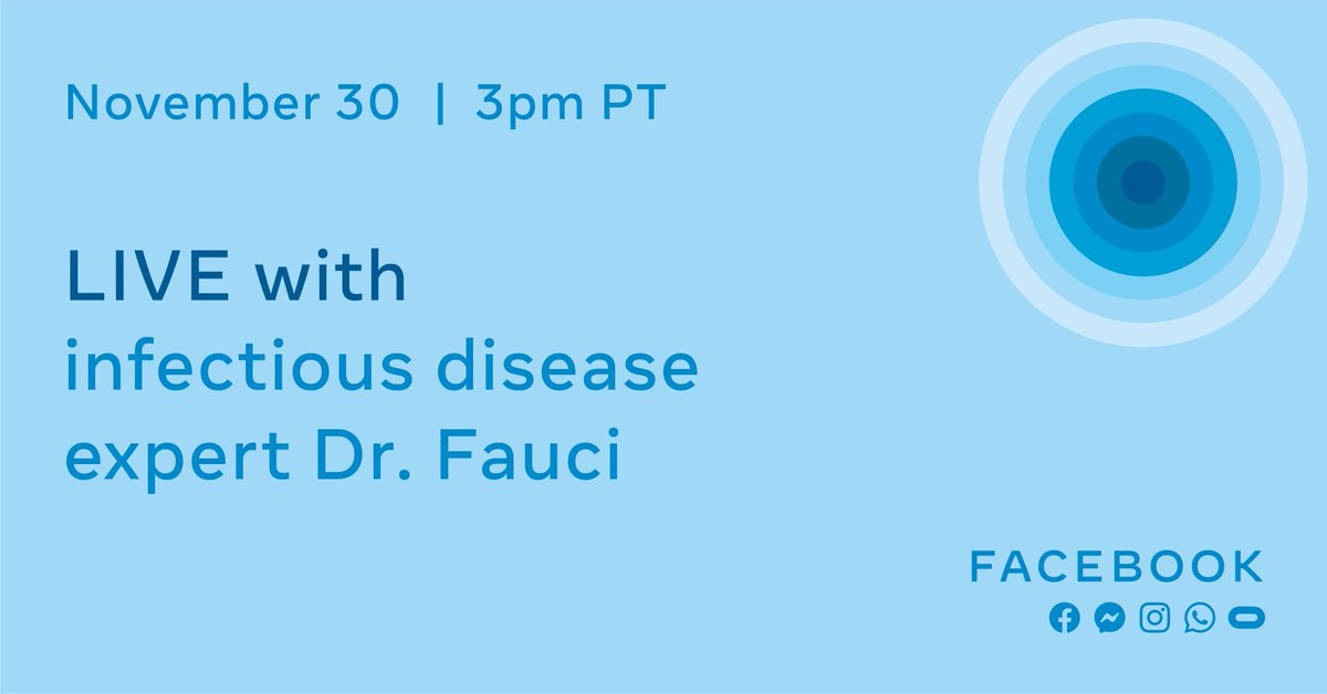 Tune in at 3pm PT today as Mark Zuckerberg goes live with Dr. Anthony Fauci, the nation's leading infectious disease expert, to talk about progress towards a Covid vaccine and what we all need to do to slow spread of the virus during the holiday season.