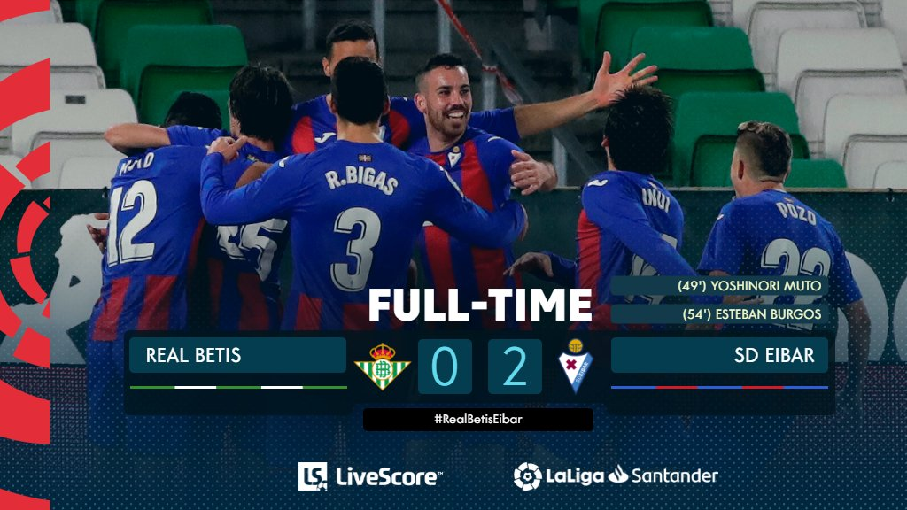 FT #RealBetisEibar 0‐2  Third away win of the season for @SDEibarEN! 💫  #LiveResults