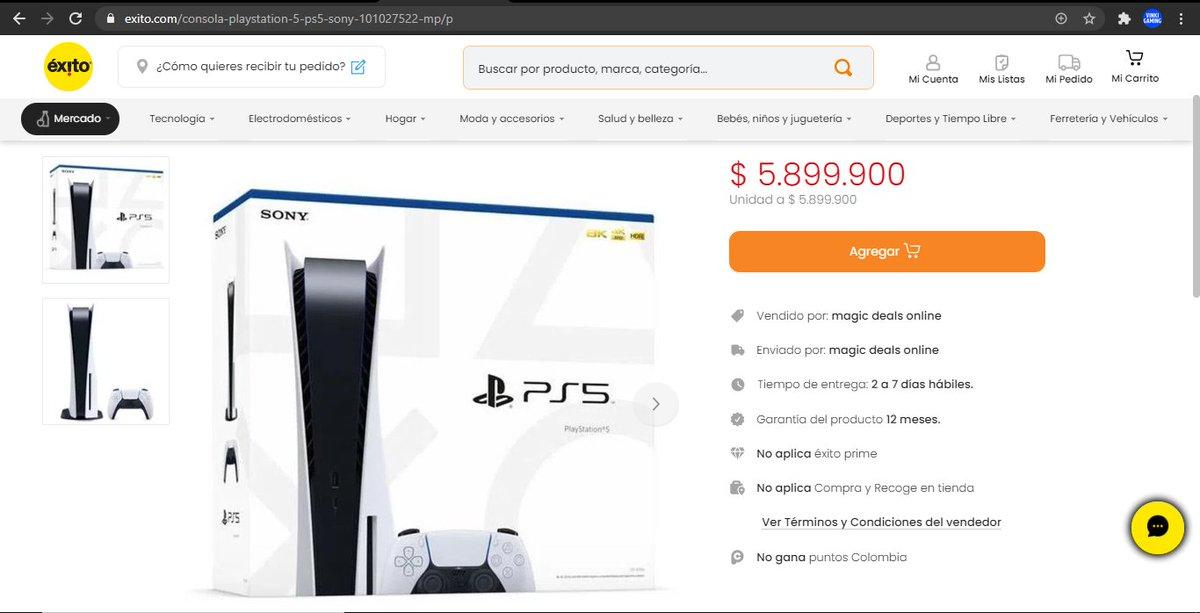@sicsuper Consulta! es posible que @almacenesexito pueda duplicar el precio de un producto? se tenía estipulado que el precio de #PS5 en Colombia es de $2'800.000 y ellos lo están ofreciendo en $5'899.000 #Injusto #reventa @PlayStation_LA https://t.co/nkBDOL1MCm