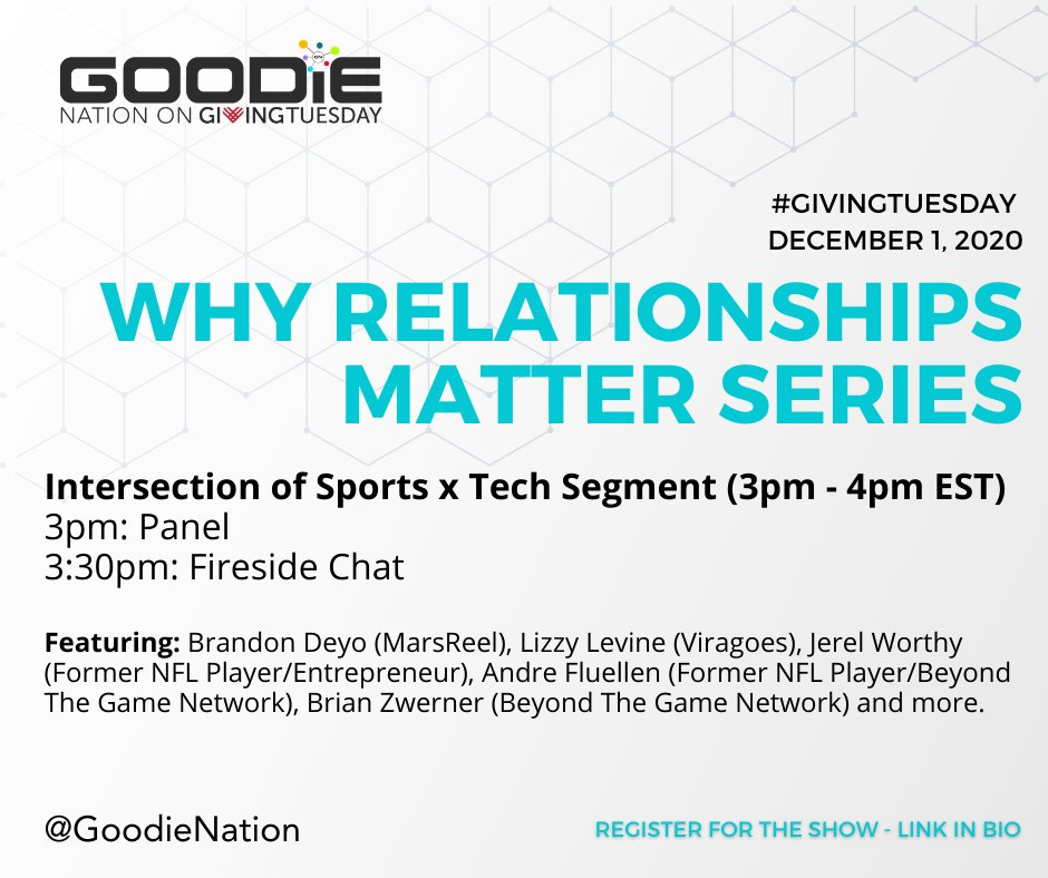 Don't miss our convo tomorrow with  @joeydigital and @goodienation about how to make relationships and form partnerships in the #SportsTech sector.  Register free: https://t.co/qBCsQLvAUX  @flu_dot_com @levine_lizzy @I_AM_Worthy99 #BrandonDeyo https://t.co/CzqQH2t03P