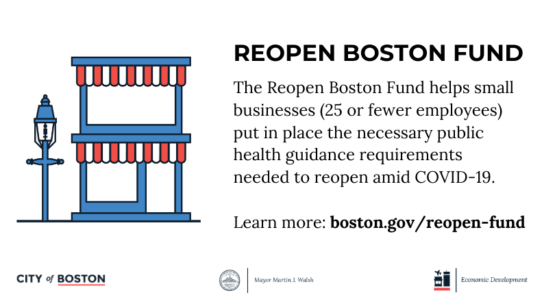 Do you know a local business that needs support?   The @EconDevBoston Reopen Boston Fund is available to small businesses in the City. The fund helps small businesses put in place the public health requirements needed during #COVID19: https://t.co/MT4ew3Lgij https://t.co/acvPvVzbWo