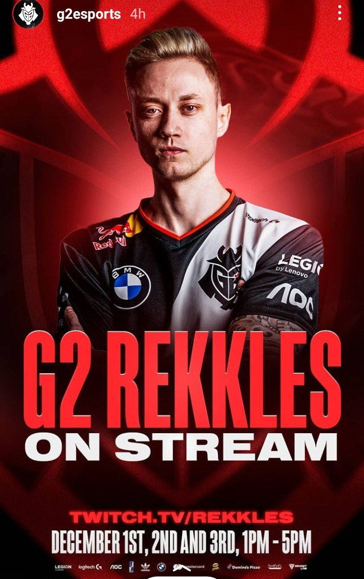 Rekkles finally streaming.. Catch him on Dec. 1st to 3rd, from 1PM to 5PM..  https://t.co/y0sWZYOSjo https://t.co/SGsRBnvQM1
