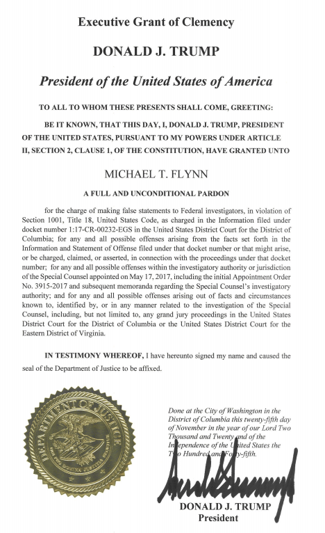 JUST IN: DOJ has moved to dismiss the Flynn case and released a copy of Trump's pardon document. https://t.co/qn3jhe8H2M