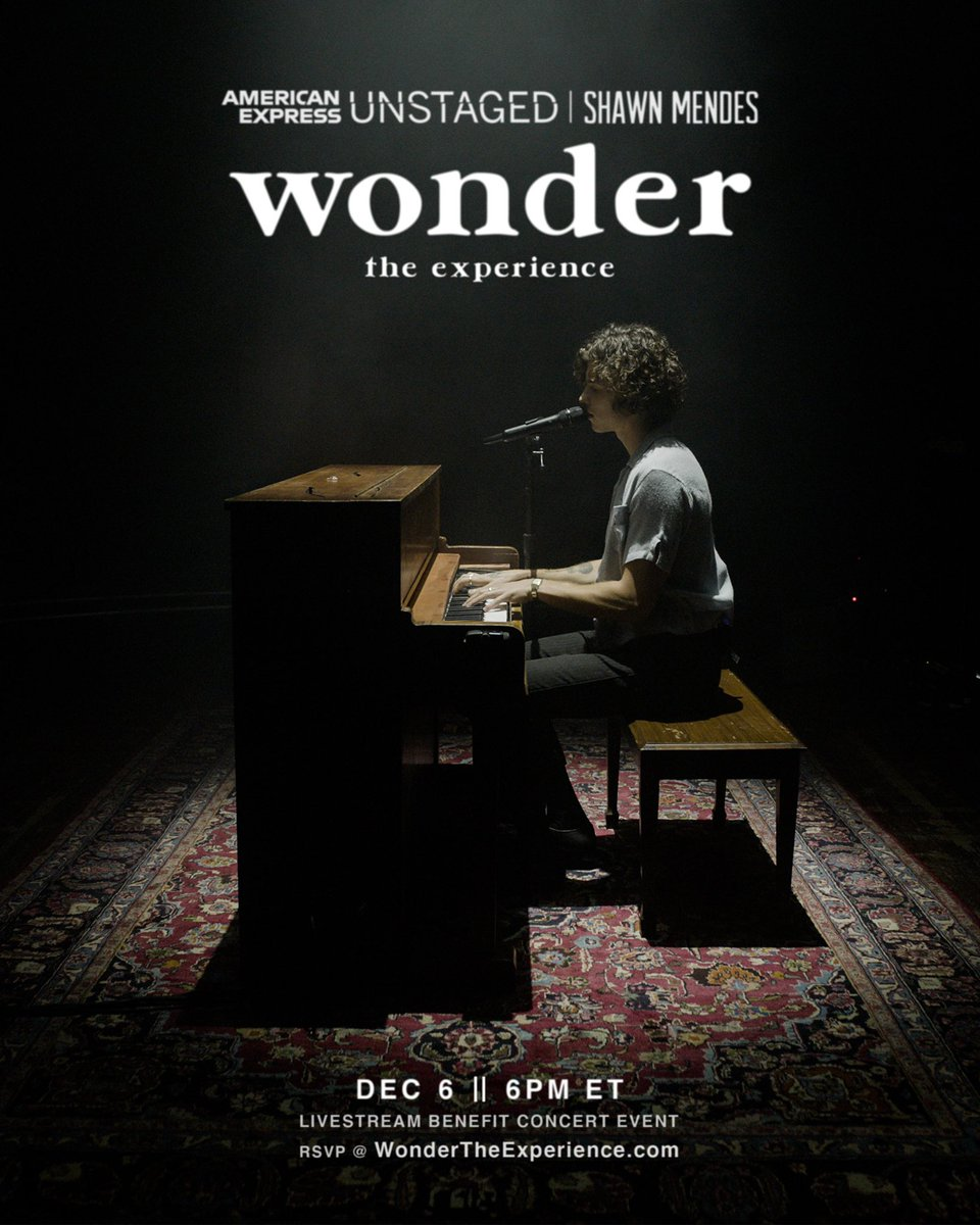 Performing some songs & telling some stories from the making of Wonder for #WONDERTHEEXPERIENCE, & proceeds will benefit the @shawnfoundation in our efforts to support youth changemakers