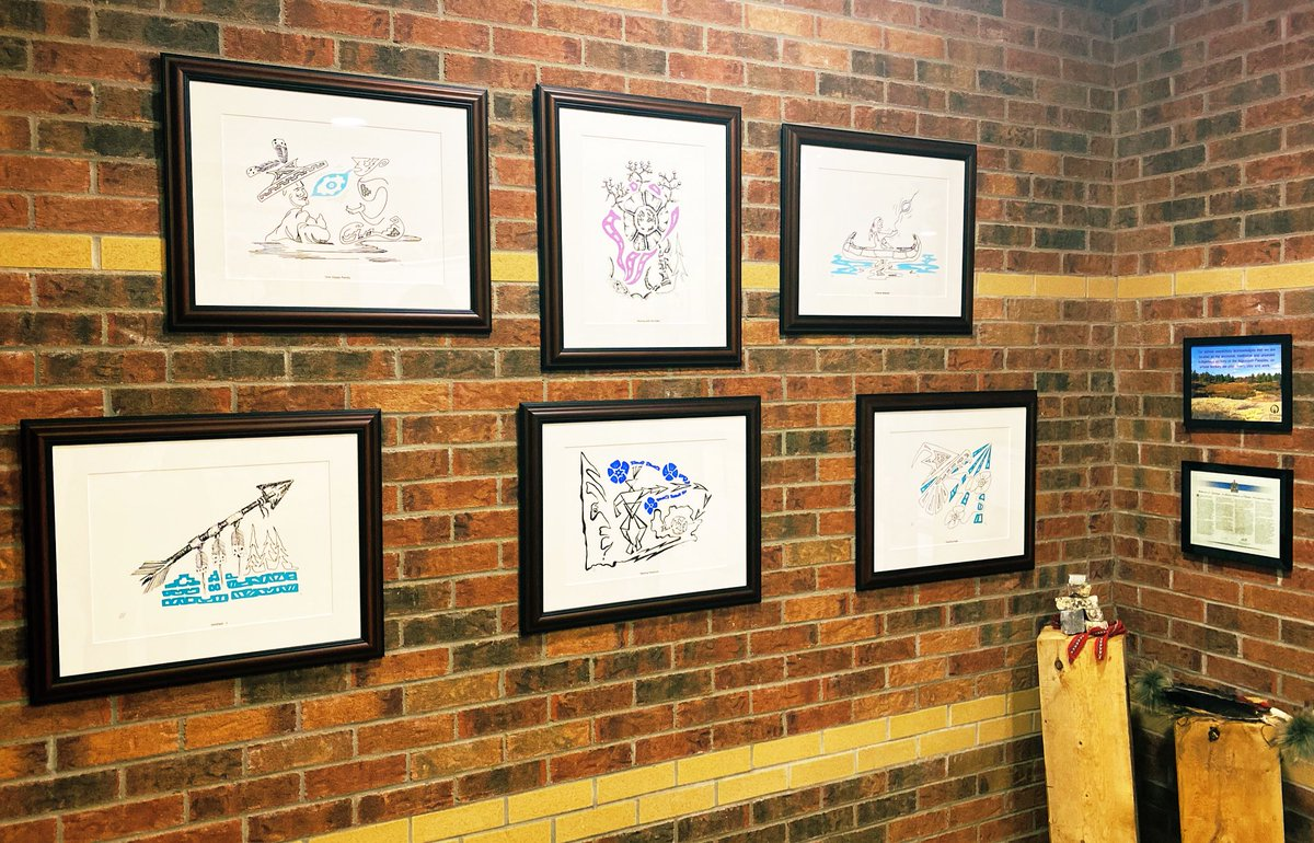 #GUAgrateful for the donation by @AndrewArcello of these stunning lithographs by Michael Cywink, an Odawa Anishinaabe artist registered with the Wiikwemkoong Unceded Territory on Manitoulin Island. We are so proud to showcase these in our front foyer @AngelsOCSB! @ocsbindigenous https://t.co/yU26SXxiRs