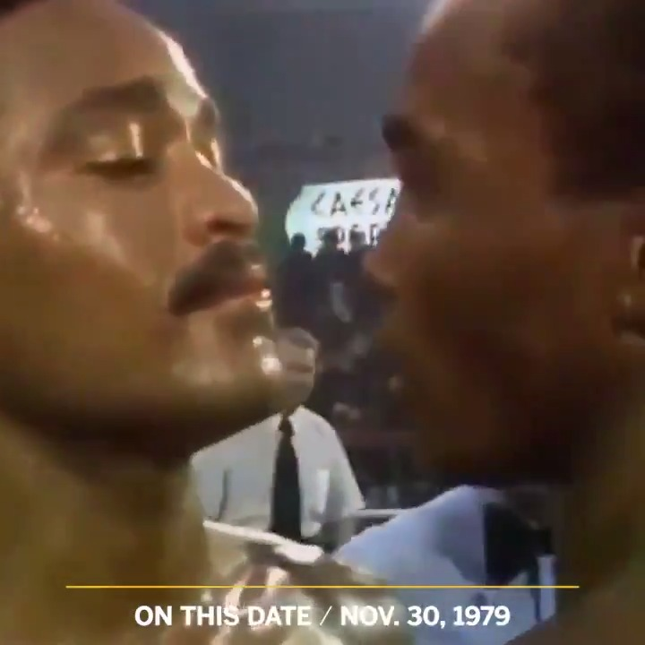 The stare down between @SugarRayLeonard and Wilfred Benitez remains one of the most intense in boxing history 👀