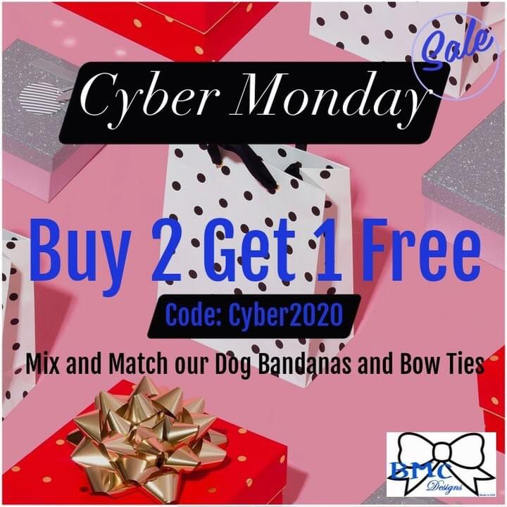 🛍ONE DAY ONLY!🛍 . Shop our Cyber Monday Sale now to purchase your fur friend some Christmas Swag! 🎁 .  . . . #BMCDesigns #BMCFashionDesigns #CyberMonday #SupportSmallBusiness #DogsOfTwitter