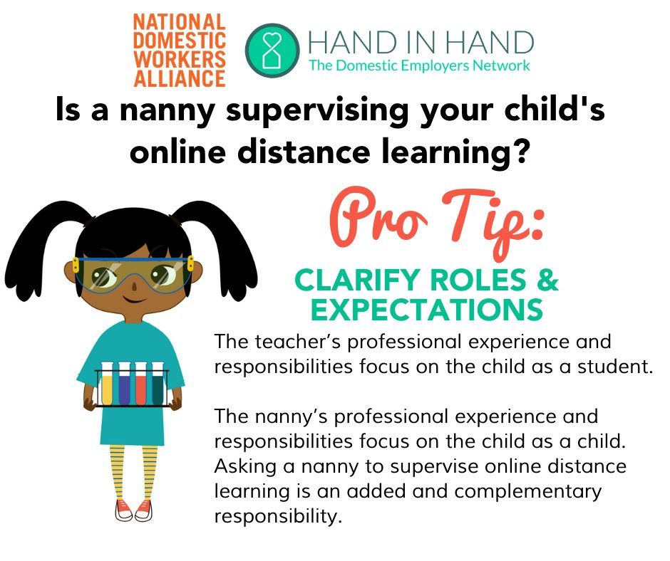 Nannies are paid to care for children. Asking a nanny to supervise online learning is an added responsibility and should come with fair compensation. These guidelines from our Nanny Council and @hihemployers can help.