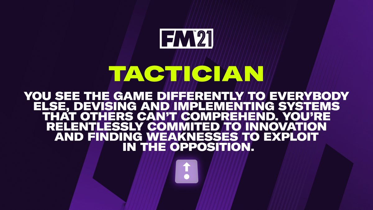 @footballrebrand based on your tweets The Board see you as a:  👔 Tactician 👔  It's time to work your magic #FM21