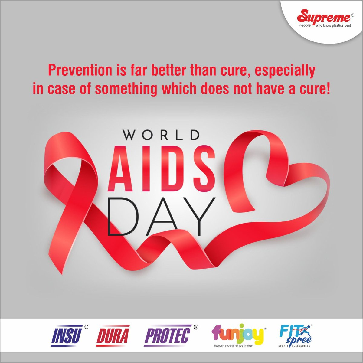 As World Aids Day is observed today, it is important to raise awareness and ensure better prevention and treatment for the disease. #Supremeindustries #ProtectivePackagingSolutions #PROTEC #DURA #INSU  #WorldAidsDay